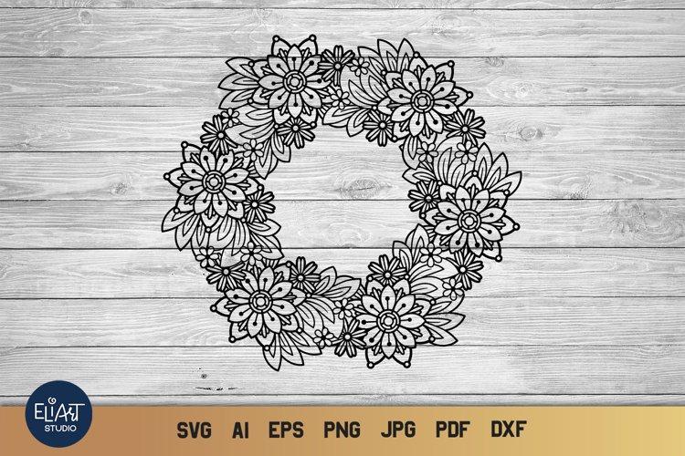 Floral Frame SVG | Flower Wreath SVG | Floral Mandala SVG