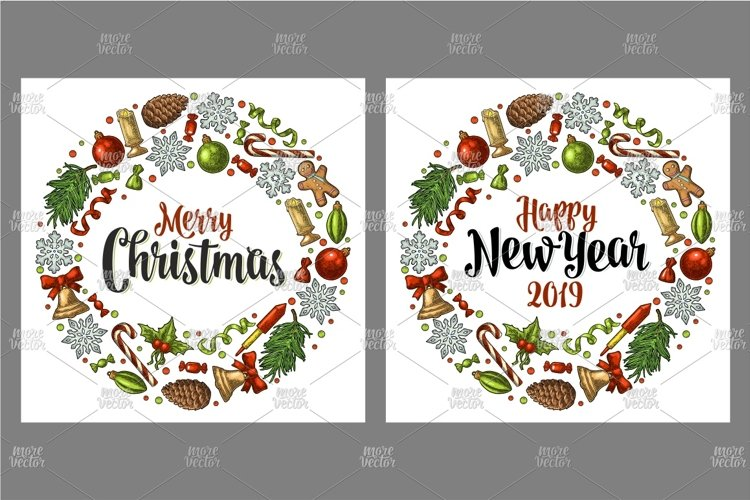 Circle shape set Merry Christmas 2019 NewYear. Engraving example image 1