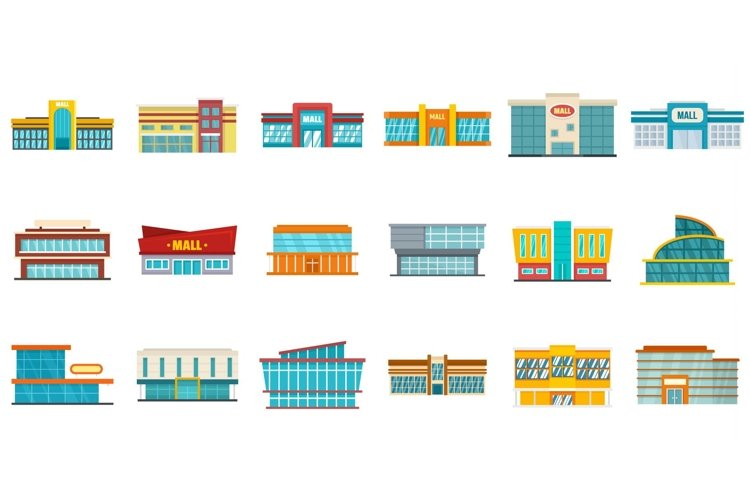 Mall icons set, flat style example image 1