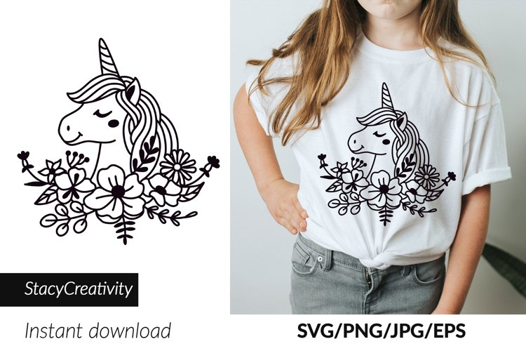 Unicorn svg, Wildflower svg, Magic unicorn in wildflowers