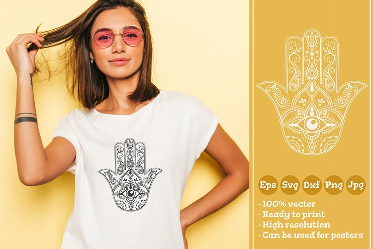 Hamsa with All Seeing Eye T-shirt Illustration SVG File example image 1