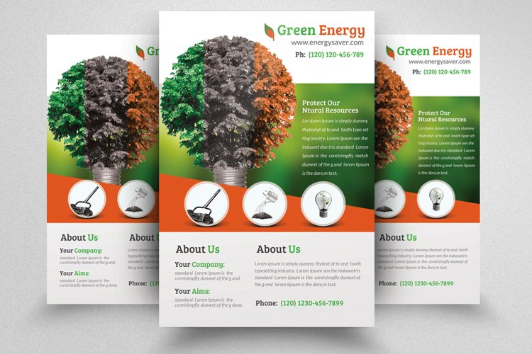 Ecology Green Energy Flyer Template example image 1