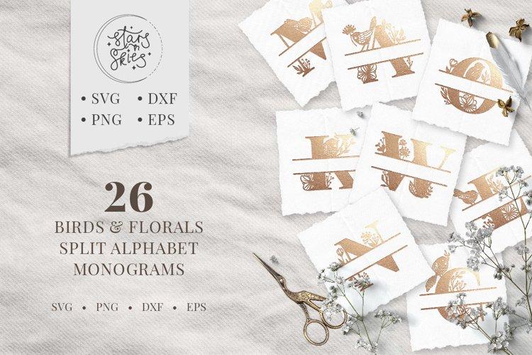 Birds and Florals Split Alphabet Monograms SVG Cut-Files