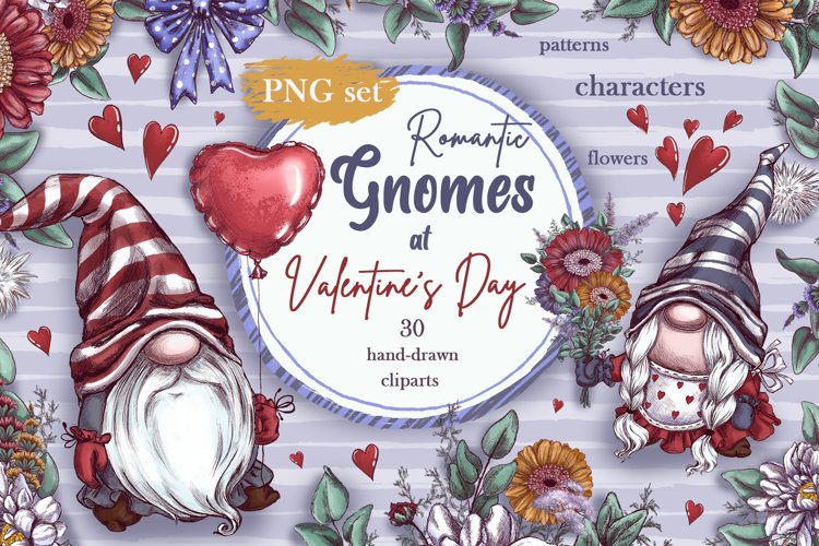 Romantic Gnomes at Valentine's Day. Hand drawing clipart. example image 1