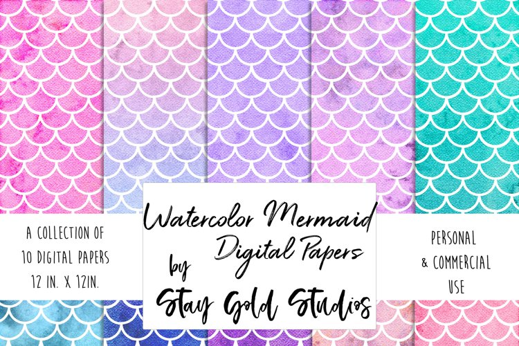Watercolor Mermaid Patterns example image 1