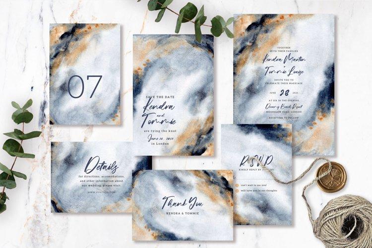Elegant Grey Gold Abstract Background Wedding Invitation Set example image 1