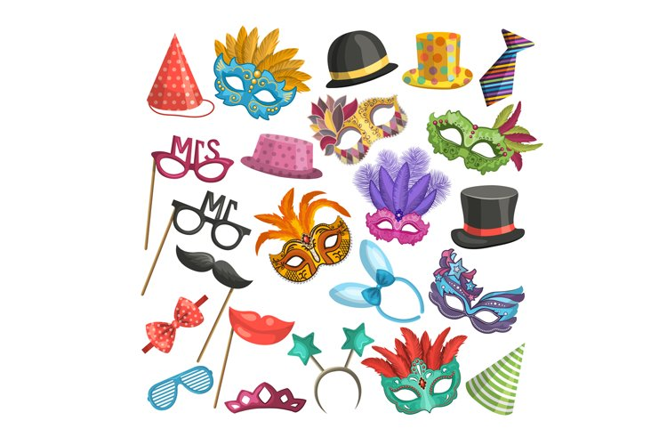 Different elements for carnival. Funny masks for masquerade. example image 1