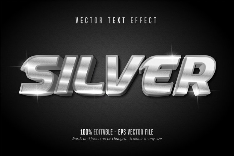 Silver text, shiny silver style editable text effect example image 1
