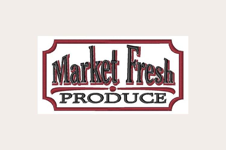 Market Fresh Produce Sign - Machine Embroidery Design example image 1