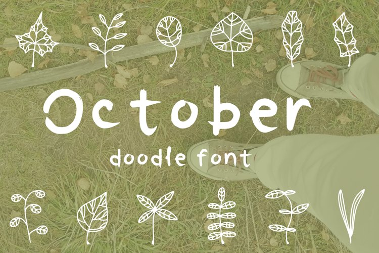 October leaves doodle font example image 1