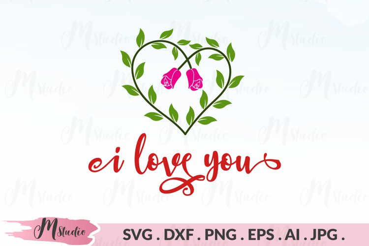 i Love you svg. example image 1