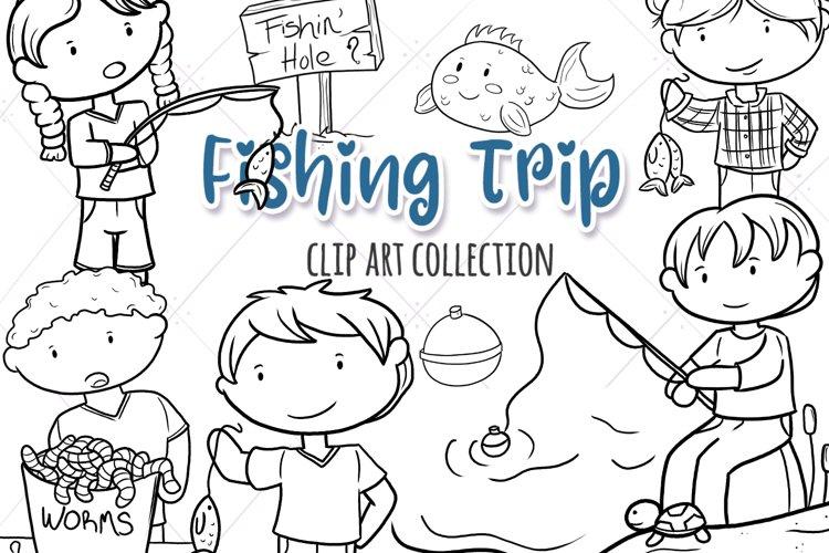 Kids Fishing Digital Stamps example image 1