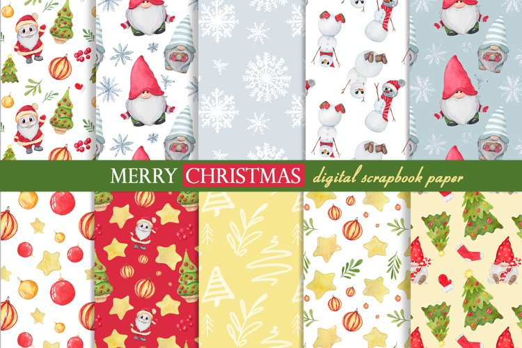 Watercolor gnome christmas seamless patterns example image 1