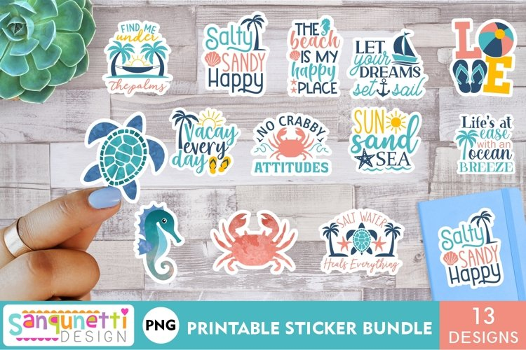 Beach and summer PNG sticker bundle