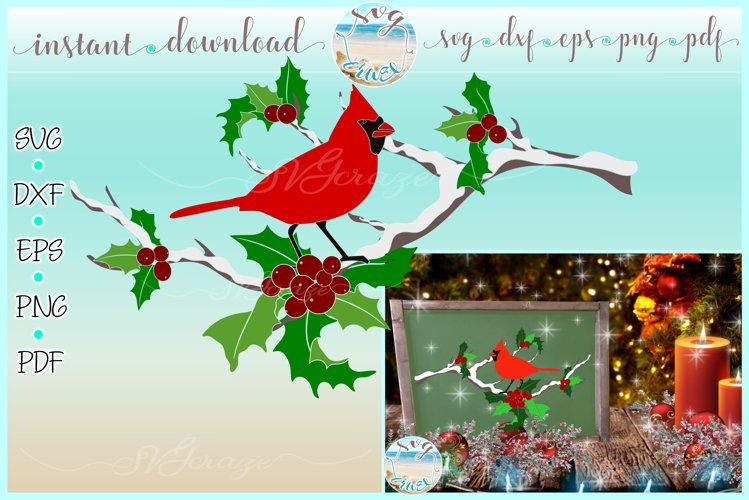 Cardinal on Tree Limb with Snow SVG Dxf Eps Png files example image 1