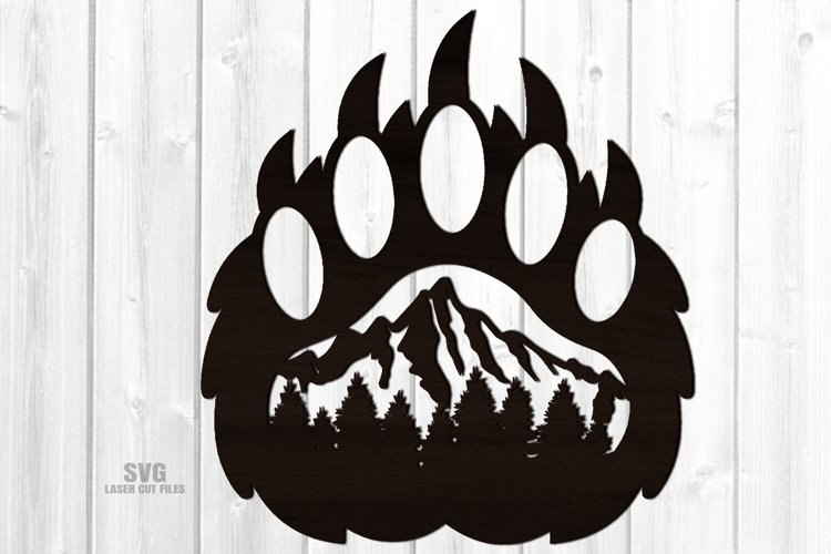 Bear Paw SVG Glowforge Sign Bear Laser Files Mountain Décor example image 1