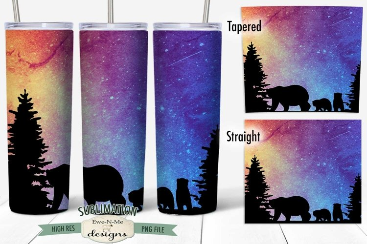 20 oz Skinny Tumbler Sublimation   Bears Night Sky   Forest