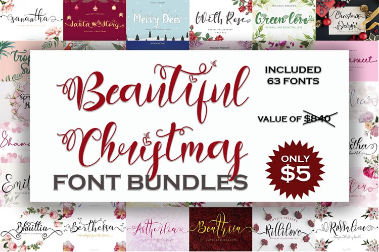 Beautiful Christmas Font Bundles example image 1