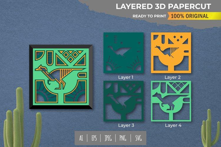 3D Papercut Beautiful Dino Layered Template example image 1