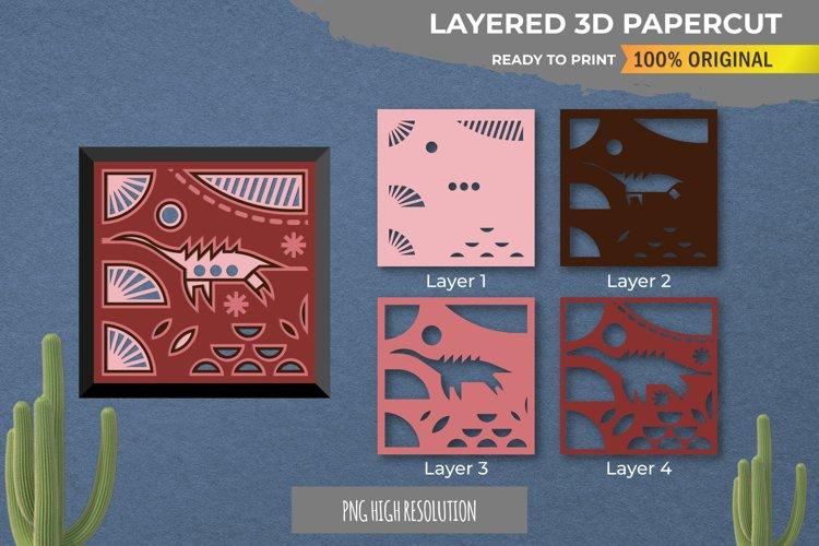 3D Papercut Beautiful Dinosaur Layered Template example image 1