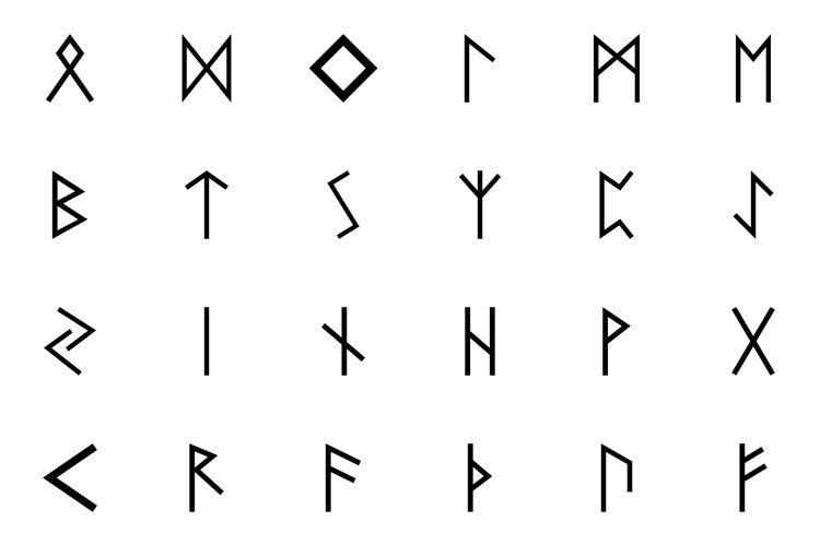 Runes of Scandinavia set icon black color solid style
