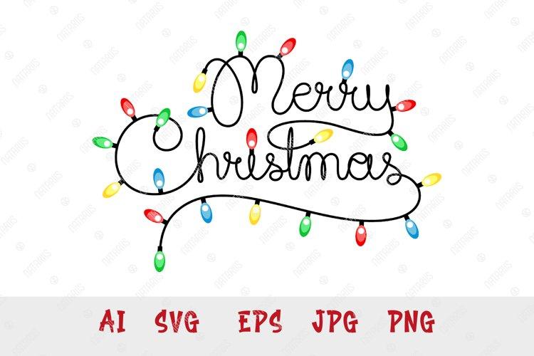 Handwritten text Merry Christmas as Christmas lights garland example image 1