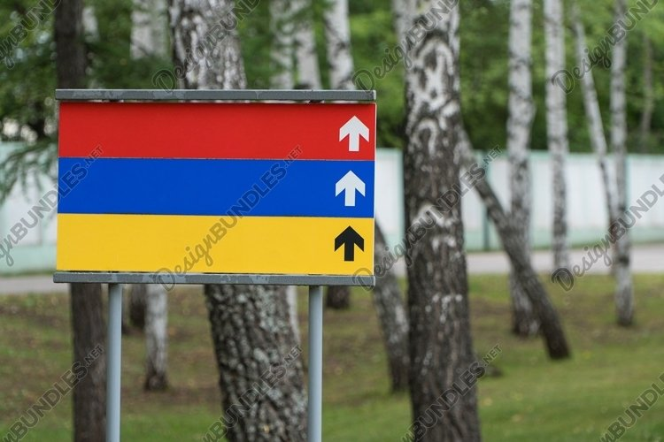 Colored blank sign in the park on a background of trees example image 1