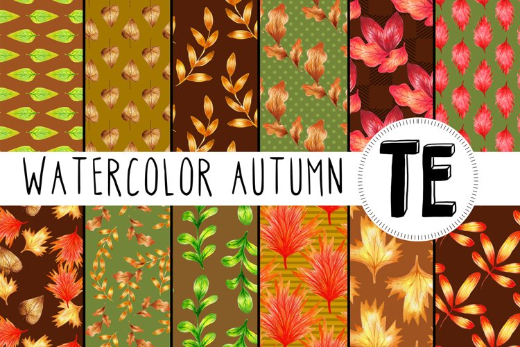 Watercolor Fall Digital Paper Pack. 12 Seamless Patterns example image 1