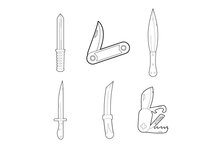 Knife icon set, outline style example image 1
