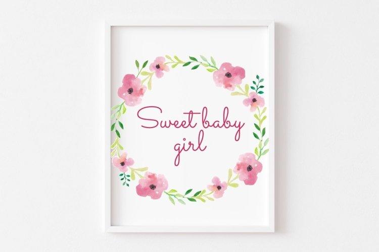 Sweet Baby Girl Printable Sign
