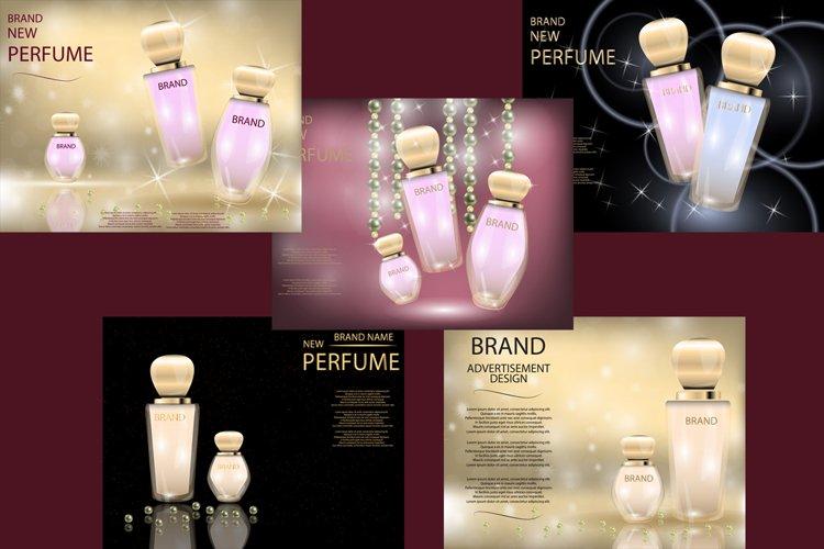 Glamorous Perfume Glass Bottles  Mock-up, 3D Realistic Vector Illustration, Template