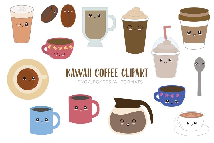 Kawaii Coffee Vector Clipart