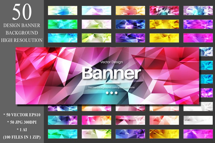 50 Polygonal Banner Design Backgrounds example image 1