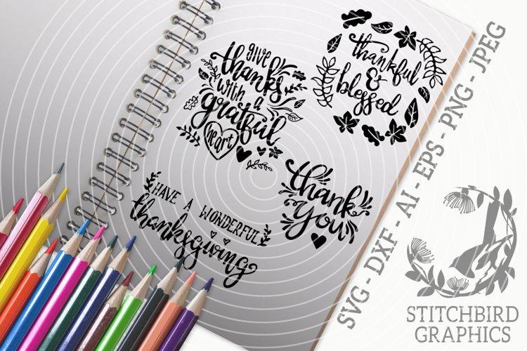 Thanksgiving Quotes 2 Bundle SVG, Silhouette Studio, Cricut example image 1