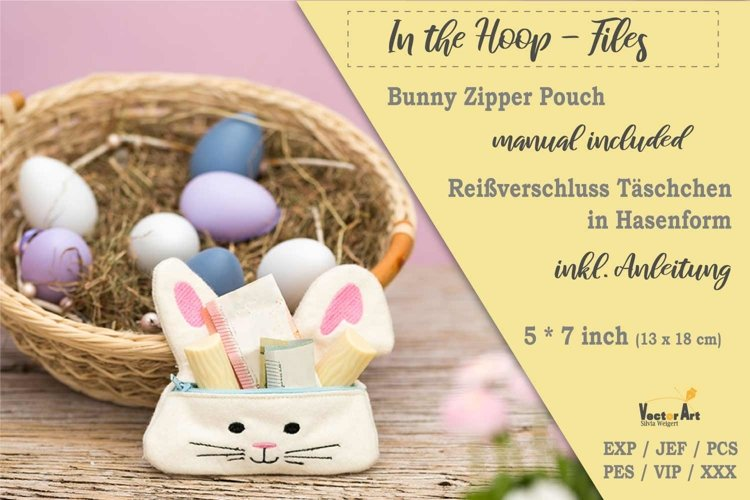 Zippered Easter Bunny Pouch - ITH Embroidery File example image 1