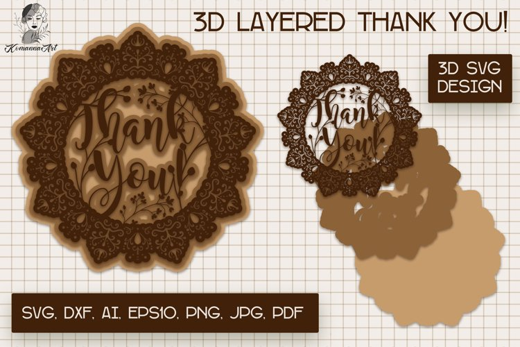Thank You Paper cut SVG, 3d layered Card, 3d Mandala SVG