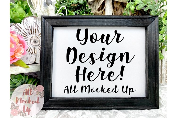 Ebony Stained Canvas Sign Mock UP Image Flat Lay 3/21