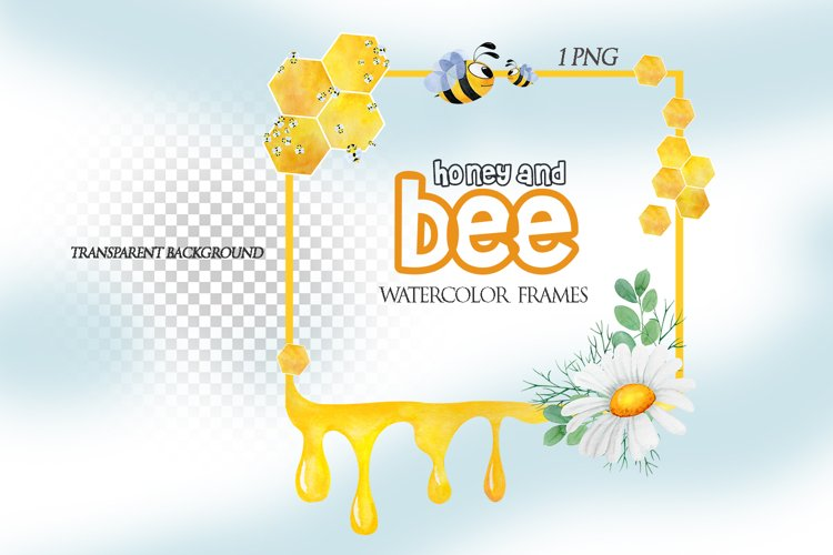 Watercolor Honey Bee Frames Clipart, Digital flower frames