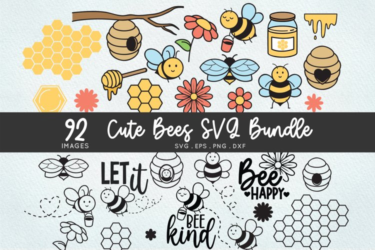 Cute Bees svg bundle - honeycomb honey bee svg png clipart