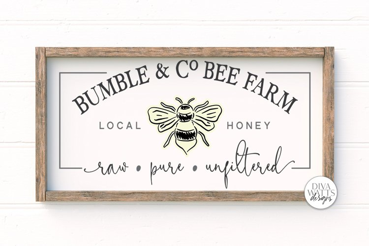 Bumble & Co Bee Farm SVG   Farmhouse Bees Sign   dxf & More example image 1