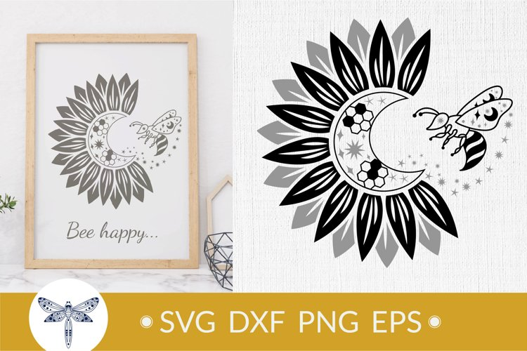 Bee SVG with sunflower svg, crescent moon for tumbler design