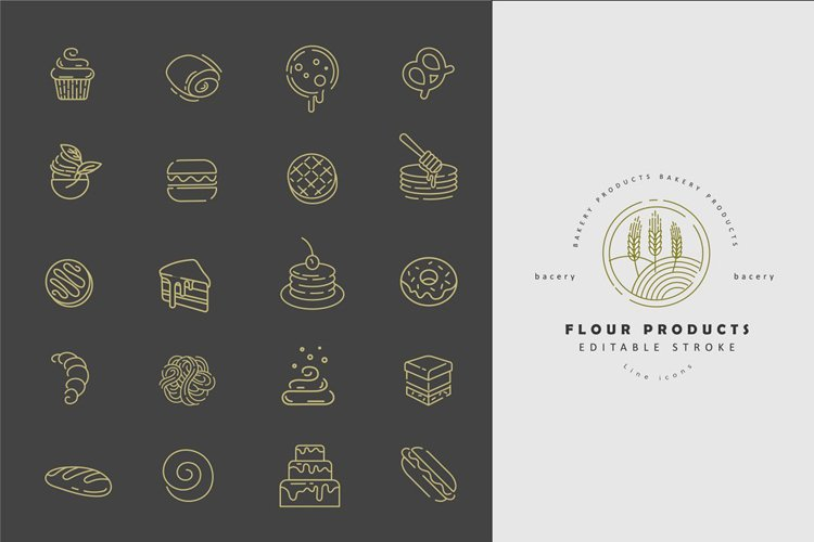 Flour & bacery icons & logos example image 1