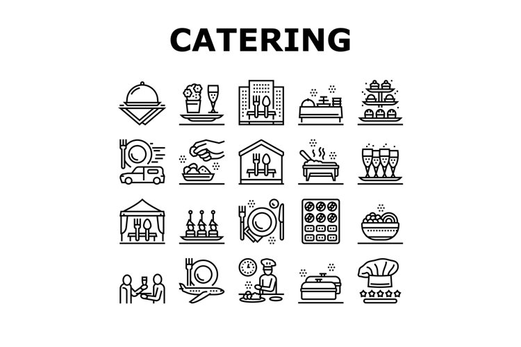 Catering Food Service Collection Icons Set Vector example image 1