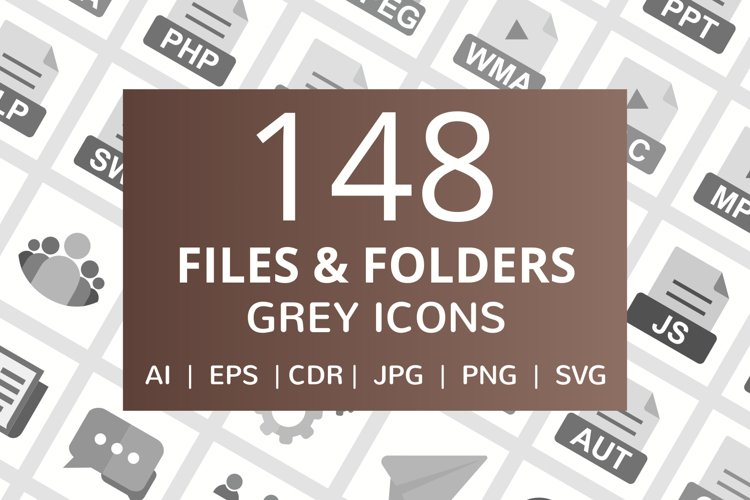 148 Files & Folders Flat Greyscale Icons example image 1