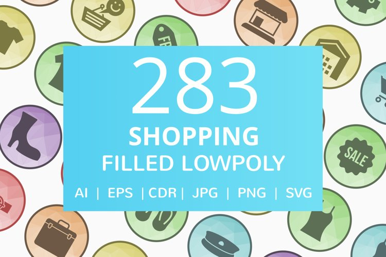 283 Shopping Filled Low Poly Icons example image 1