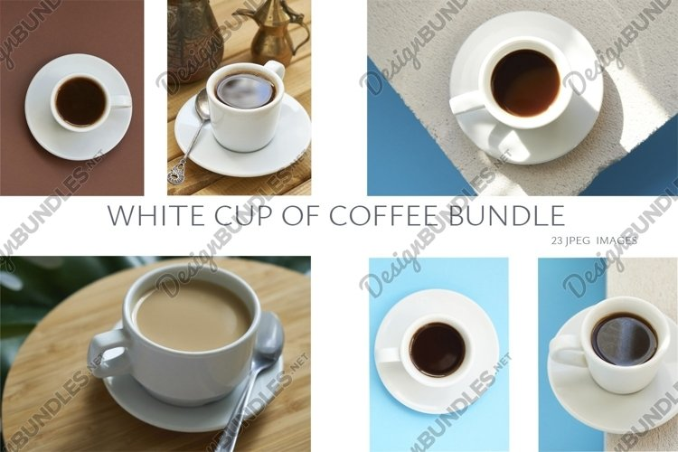Set white cup of coffee on different backgrounds