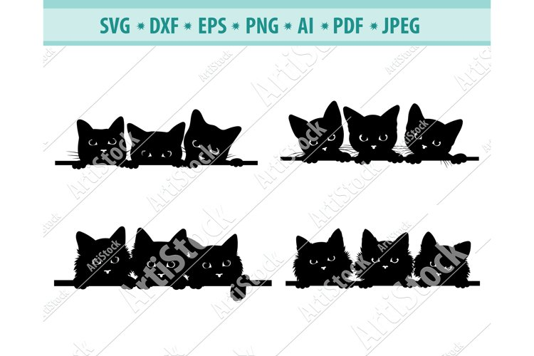 SVG 3 cats peeking, black cats Svg, Fun kitten Dxf, Png, Eps example image 1