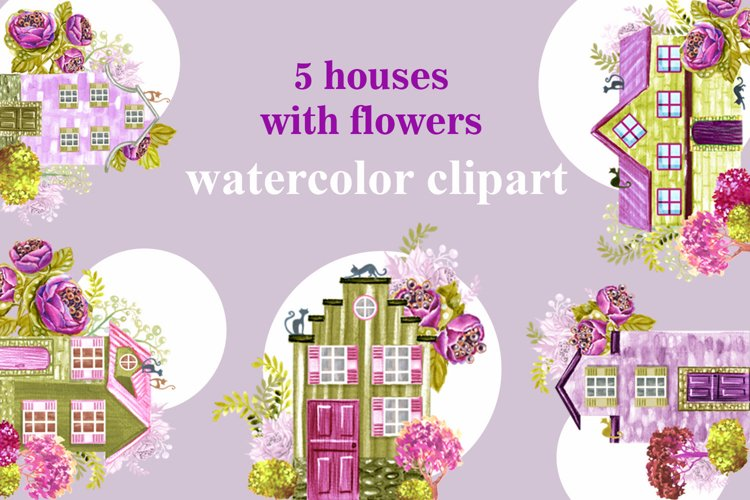 houses with flowers watercolor clipart