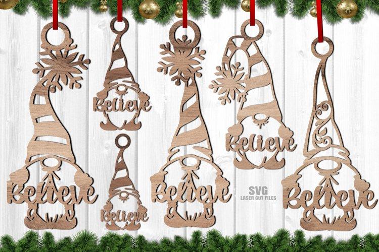 Believe Christmas Gnome Ornament SVG Glowforge Files Bundle example image 1