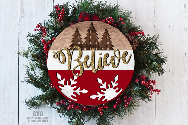 Believe Plaid Tree Round Sign SVG Glowforge Laser Files example image 1